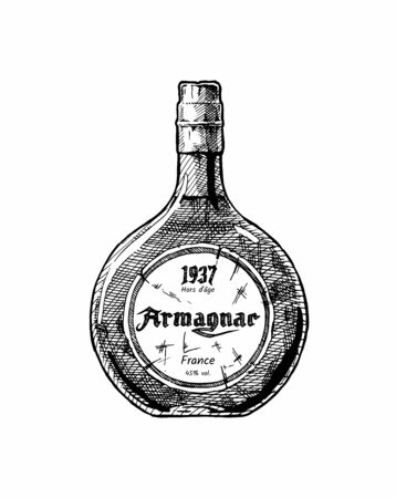 Vector hand drawn illustration of Armagnac bottle, type of brandy. Isolated on white background