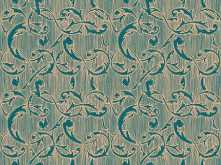 Seamless vintage baroque, renaissance and damask pattern. Vector illustration background in ink hand drawn style.