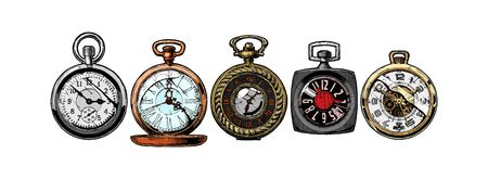 Vector ink hand drawn set of pocket watches. Illustration isolated on white.