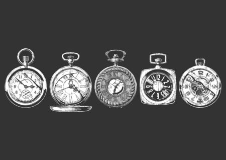 Vector ink hand drawn set of pocket watches. Illustration isolated on black background.