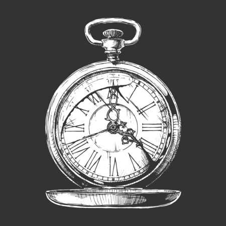 Vector ink hand drawn illustration of pocket watch. isolated on black background.