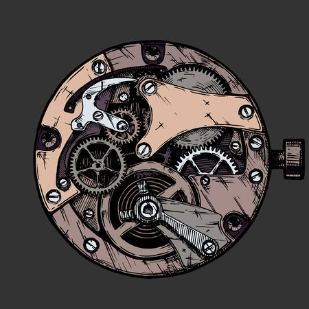 Vector ink hand drawn illustration of clockwork. Black and white. isolated on black background.