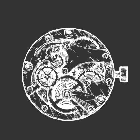 Vector Tinte Hand gezeichnete Illustration des Uhrwerks. Schwarz und weiß. auf schwarzem Hintergrund isoliert.