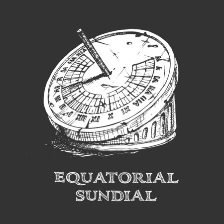 Vector hand drawn illustration of equatorial sundial in vintage engraved style. isolated on black background.