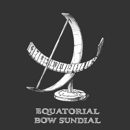Vector hand drawn illustration of equatorial bow sundial in vintage engraved style. isolated on black background.