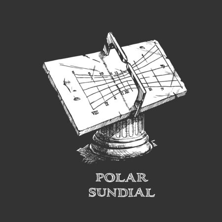 Vector hand drawn illustration of polar sundial in vintage engraved style. isolated on white background.