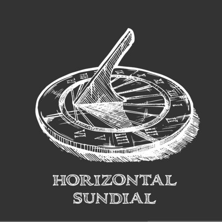 Vector hand drawn illustration of horizontal sundial in vintage engraved style. isolated on black background.