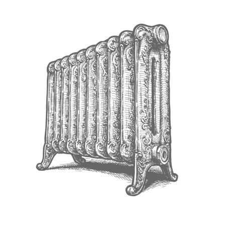Vector hand drawn illustration of Old Cast Iron Radiators in vintage engraved style. Isolated on white background.