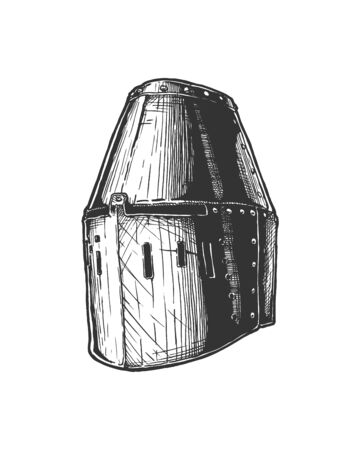 Vector hand drawn illustration of Great helm (or heaume, is a helmet of the High Middle Ages) in vintage engraved style. Isolated on white background.