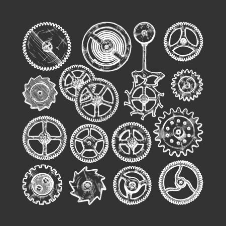 Vector ink hand drawn set of gear wheels. Black and white illustration. isolated on black.