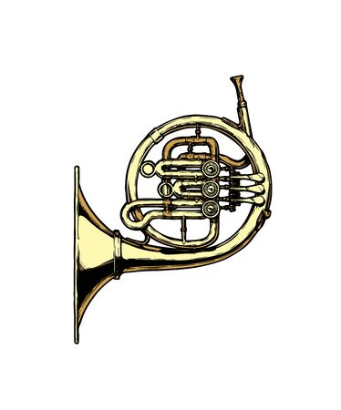 Vector hand drawn illustration of french horn. Isolated on white.