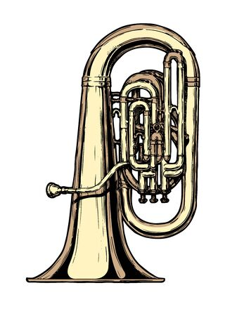 Vector hand drawn illustration of tuba. Isolated on white.