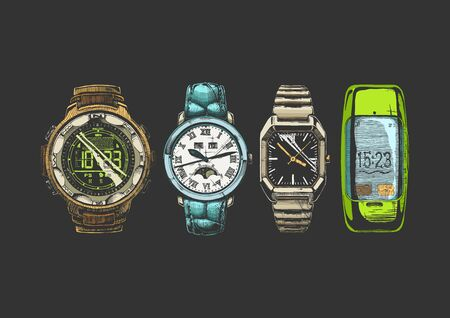 Vector hand drown illustration set of men wristwatches. Digital watch with compass, moon phase watches, rectangular wristwatch with black dial and smartwatch.