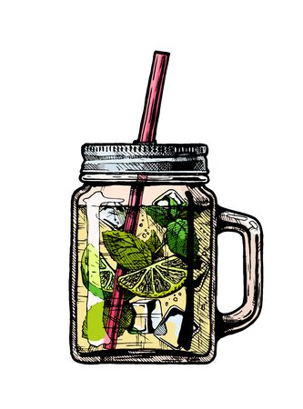Vector hand drawn illustration of lemonade cocktail in drinking jar. Isolated on white background.