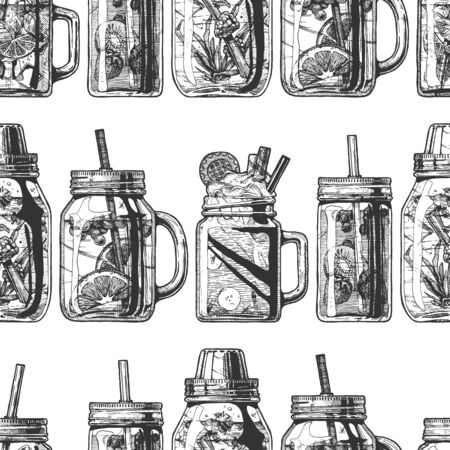 Seamless pattern with lemonade in mason jar in vintage engraved style. On white background. Vettoriali