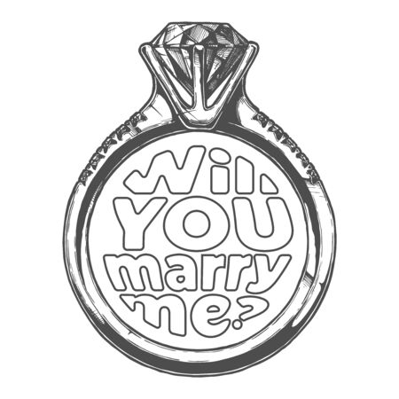 Vector hand drawn illustration of wedding ring with lettering: Will you marry me? Isolated on white background.