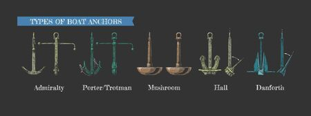 Vector hand drawn illustration set of different realistic types of anchors. Admiralty pattern, Porter - Trotman, Mushroom anchor, Hall and Danforth. Vecteurs