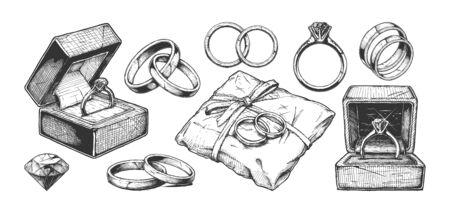 Ilustración de dibujado a mano de vector de diferentes anillos de joyería de boda en estilo vintage grabado. aislado sobre fondo blanco.