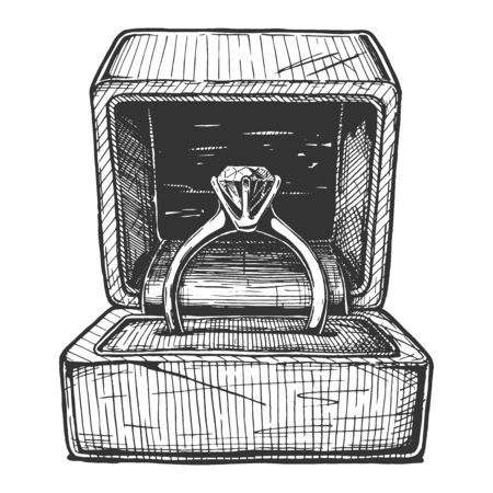 Vector hand drawn illustration of Engagement ring in the gift box in vintage engraved style. Isolated on white background. Vettoriali