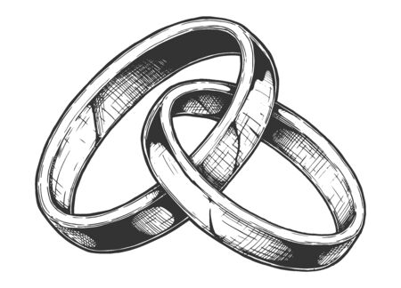 Vector hand drawn illustration of Wedding ring in vintage engraved style. Isolated on white background.