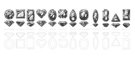 Vector hand drawn illustration of different diamond cuts and shapes: Round Brilliant, Princess cut, Emerald, Heart, Oval, Asscher, Pear, Cushion, Marquise, Radiant, Trillion and Baguette. Isolated on white background.