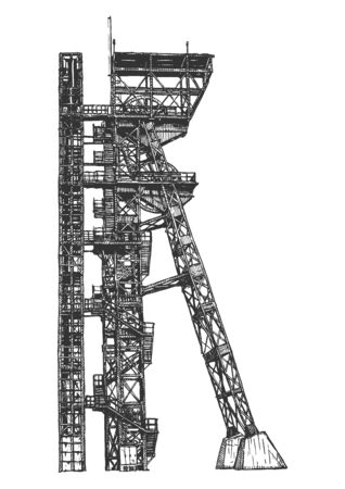 Vector hand drawn illustration of mine shaft tower in vintage engraved style. Isolated on white background. Illustration
