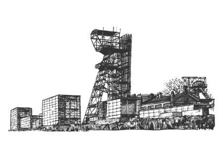 Handgezeichnete Vektorgrafik des Schachtturms im Vintage-Stil. Isoliert auf weißem Hintergrund.