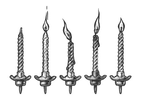 Vector hand drawn illustration of birthdays candles with and without fire in vintage engraved style. Isolated on white background. Vektoros illusztráció