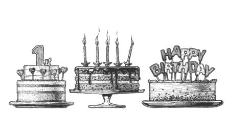 Vector hand drawn set of Birthday Cakes: 1st year cake, cake with burning candles and cake-topper with Happy Birthday message. illustration in vintage engraved style. Isolated on white background.