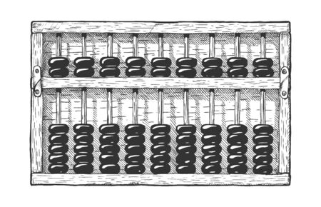 Vector hand drawn illustration of Suanpan – is an abacus of Chinese. Vintage engraved style. Isolated on white background. Çizim
