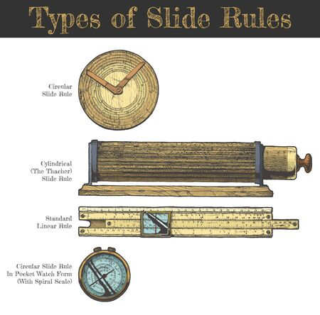 Vector hand drawn illustration of slide rules types. Circular slipstick, cylindrical Thacher, standart Linear rule and in pocket watch form with spiral scale. Isolated on white background.   Vectores