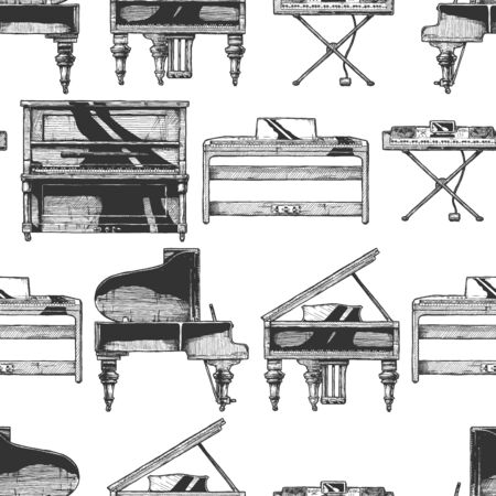 Seamless pattern with Grand Piano, Upright (vertical), digital pianos and electronic keyboard. Vintage engraved style. Isolated on white background.