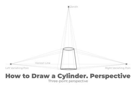 Tutorial How to draw a Cylinder. Three-point Perspective.
