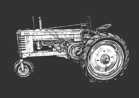 Vector hand drawn illustration of retro three–wheeled tractor in vintage engraved style. isolated on black background. Side view.