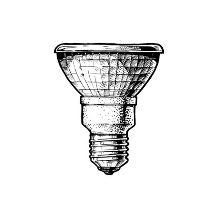 Vector hand drawn illustration of tungsten halogen lamp in vintage engraved style. Isolated on white background. Illustration