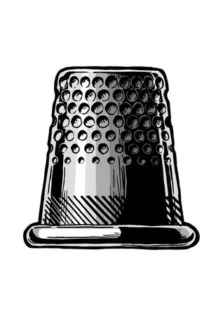 Vector black-and-white hand drawn illustration of thimble in vintage engraved style. Side view. isolated on white background.