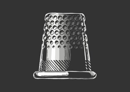 Vector black-and-white hand drawn illustration of thimble in vintage engraved style. Side view. isolated on black background.
