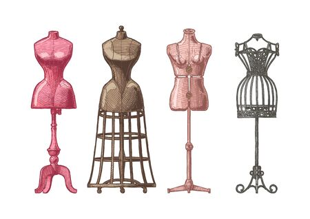 Vector hand drawn illustration of mannequins set in vintage engraved style. Old fashion dummy, dress-stand with bustle, adjustable dress form, frame mannequin. isolated on white background. front view.