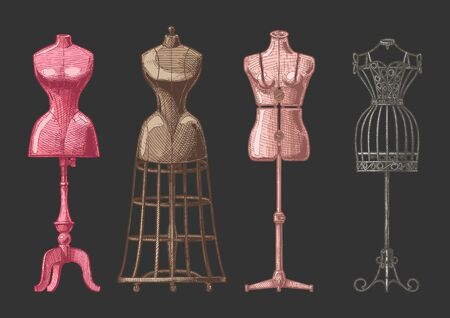 Vector hand drawn illustration of mannequins set in vintage engraved style. Old fashion dummy, dress-stand with bustle, adjustable dress form, frame mannequin. isolated on black background. front view.