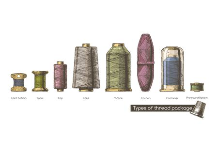 Vector hand drawn illustration of sewing thread bobbins types in vintage engraved style. isolated on white background. Side view.