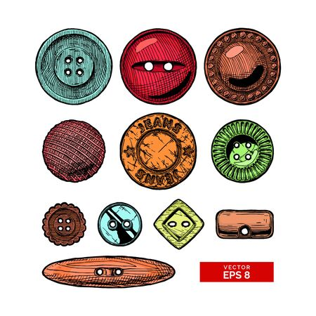 Vector hand drawn illustration of clothes buttons set in vintage engraved style. Shank, flat or sew through, jeans button and others. isolated on white background.