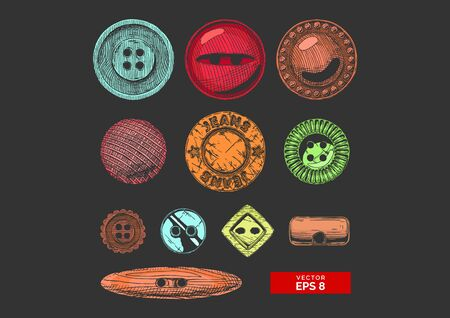 Vector hand drawn illustration of clothes buttons set in vintage engraved style. Shank, flat or sew through, jeans button and others. isolated on black background.  Ilustracja