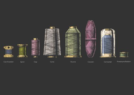 Vector hand drawn illustration of sewing thread bobbins types in vintage engraved style. isolated on black background. Side view. Çizim