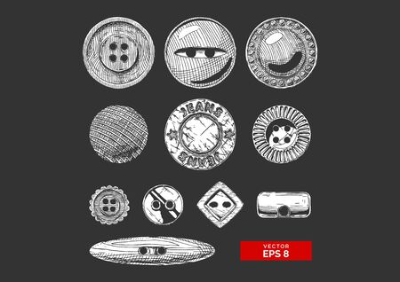 Vector black-and-white hand drawn illustration of clothes buttons set in vintage engraved style. Shank, flat or sew through, jeans button and others. isolated on black background.