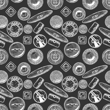 Seamless pattern with  different sewing button. Vector illustration in vintage engraved style. Ilustracja