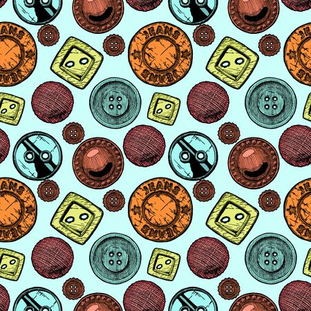 Seamless pattern with  different sewing button. Vector illustration in vintage engraved style. Illustration
