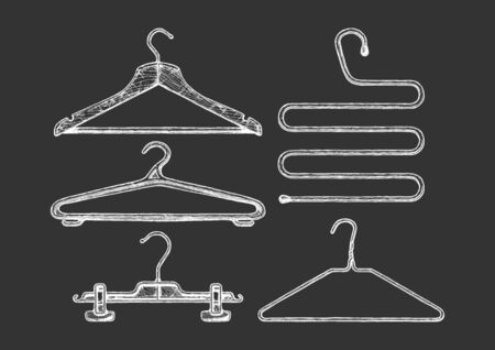 Vector hand drawn illustration of clothes coat-hanger set in vintage engraved style. Wooden, plastic and wire coathangers, clamp for the hanging of trousers, 5-level coat hanger. isolated on black background.