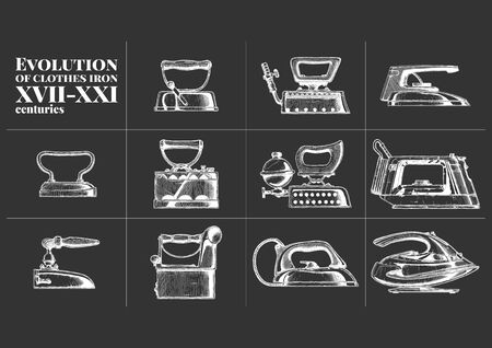 Vector hand drawn illustration of clothes iron evolution set. XVII-XXI centuries. Side view. Vintage engraved style. isolated on black background. Ilustracja