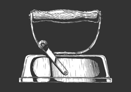 Vintage сlothes iron. Smoothing iron with removable handle. Vector hand drawn illustration. Isolated on black background. Side view. Ilustracja