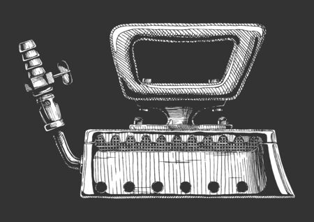Vector hand drawn illustration of retro clothes iron, gas smoothing. Isolated on black background. Side view.